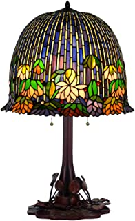 HT Tiffany Style Table lamp, 18 inch Wide Purple Pond Water Lily 3 Light Stained Glass Shade Iron Lotus Leaf Base, Antique for Dining Room Living Room Bedroom Study Dresser