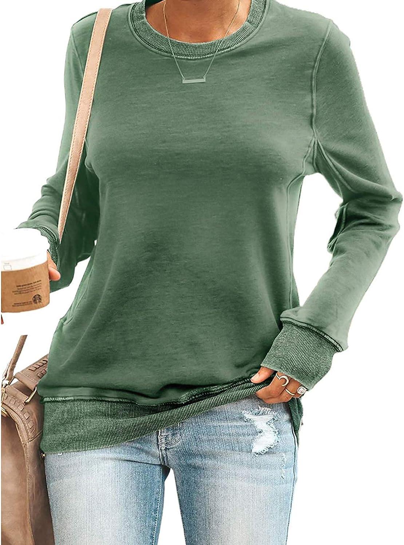 Maavoki Femmes Pull Chemises /à Manches Longues Col Rond Sweats D/écontract/é Haut Chemisier Sweatshirts