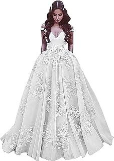 Women's Off Shoulder Lace Applique Princess Ball Gowns Pockets Long Halloween Custom Dresses 001