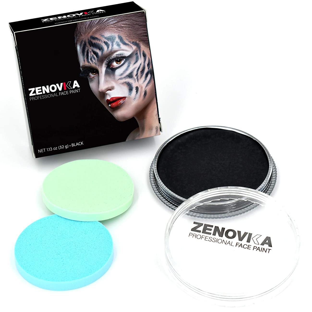 Black Face Paint - Large 32 g (1.13 oz) Water Based FacePaint + 2 Sponges, Perfect Halloween Makeup for Day of the Deads, Professional Face Paint, Face Paints Safe for Sensitive Skin