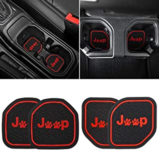 Auovo Auto Cup Holder Inserts Coaster Fit for 2018 2019 Jeep Wrangler JL JLU 2020 Gladiator JT Cup Mat Pad Interior Decoration Accessories (4 Pcs Kit,Red)