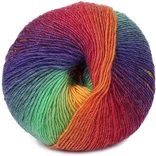 chenpaif 1Ball 50g Tejido a Mano Rainbow Crochet Colorido Cachemira Mezcla de Lana Tejido de Punto