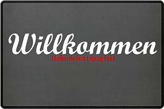 PlimPlom Fußmatte Anti Leipzig in grau - Lustige Fußball Schmutzfangmatte mit Statement für Dein Zuhause aus Polypropylen mit Rutschfester Unterseite