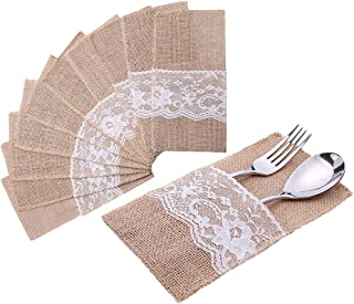 handrong 20pcs Natural Burlap Lace Silverware Napkin Holder Knife Fork Cutlery Pouch 4 x 8 inch Tableware Utensils Bag for Rustic Wedding Party Bridal Baby Shower Christmas Favor Decorations Gifts