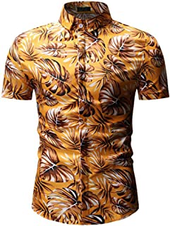 df37a31df37 Mens Summer Short Sleeve Leaves Print Button Down Beach Aloha Hawaiian Shirt