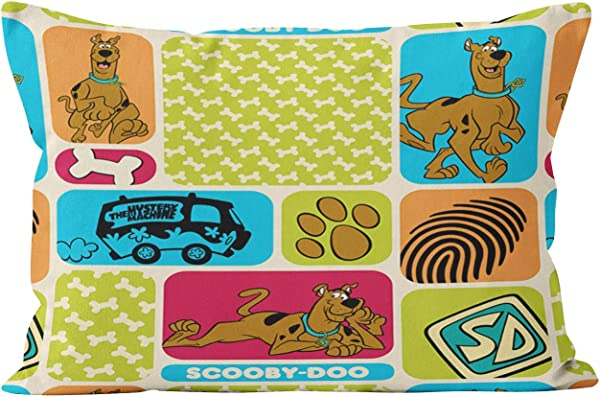 Hahala Funny Scooby Doo Mystery Hidden Zipper Home Decorative Rectangle Throw Pillow Cover Cushion Case Queen 20x30 Inch One Side Design Printed Pillowcase