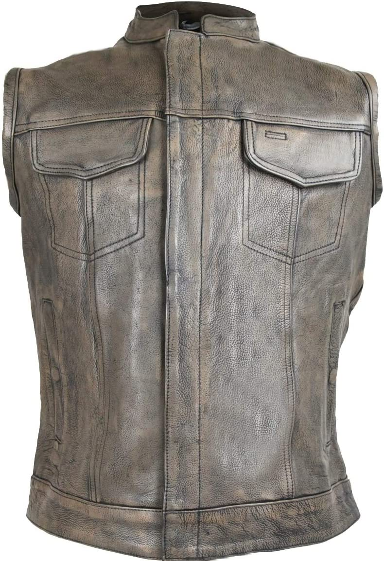 Mens Motorcycle Son of anarcy Distressed Brn Concealed carry gun pocket Leather Vest (5XL)