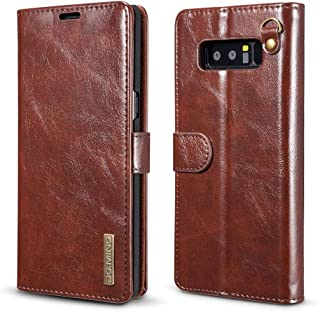 Samsung Galaxy Note 8 Wallet Case, Genuine Cowhide Leather Folio Flip Case Built-in Magnetic Pickup Detachable Case Cover ...