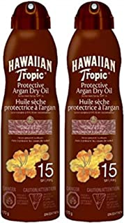 Hawaiian Tropic Argan Dry Oil Sunscreen Spray Spf 15, 2x170 grams