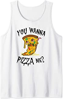 Pizza Zombie You wanna pizza me Pun Halloween food Costume Tank Top