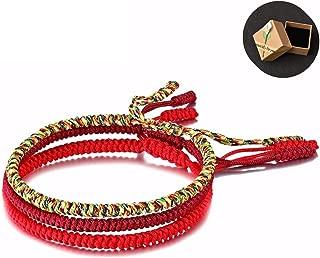 Original Handmade Tibetan Lucky Bracelet Woven Bracelets Mens Womens Lucky Red String Bracelets For Protection With Gift Box Pack 3 Bracelets