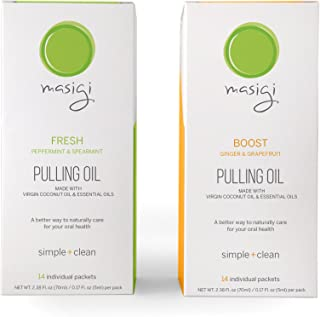 Masigi FRESH & BOOST Oil Pulling Mouthwash Bundle | Organic Coconut Oil Pulling Mouthwash | A Natural Ayurvedic Oral Detox for Teeth and Gums | 14 Single-Serve Travel Friendly Packets Per Box (2 X 70)