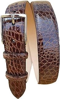 ESPERANTO Cintura in Fianco di Coccodrillo 35 mm - Tabacco (Tg 48- LUNG TOTALE 110 CM-GIROVITA 95 CM)
