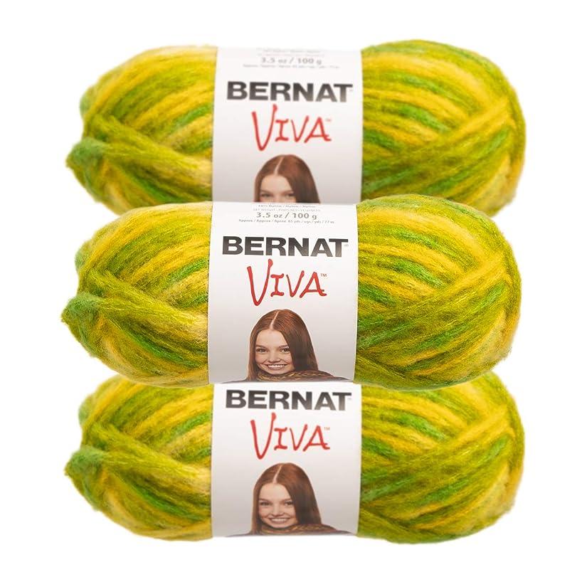 Bernat (3 Pack Viva Acrylic Blend Soft Chartreuse Yellow Green Yarn for Knitting Crocheting Super Bulky #6