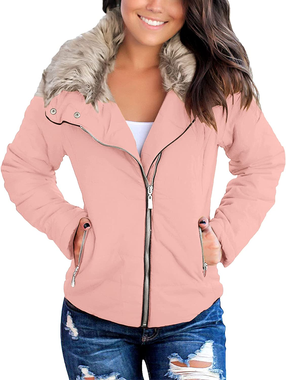 Utyful Women Casual Lightweight Faux Fur Lapel Zip Up Outerwear Quilted Parka Jacket Coat