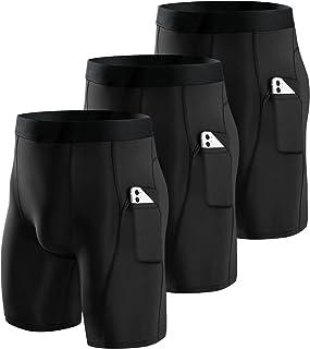 Niksa 3 Pack Compression Shorts Men Quick Dry Black Performance Athletic Shorts