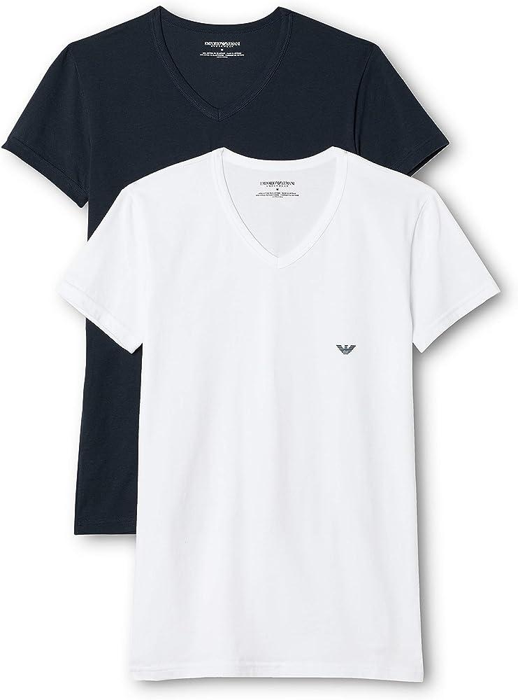 Emporio armani underwear canotta,MAGLIETTE,t-shirt (pacco da 2)  per uomo,95% cotone, 5% elastan 111512CC717