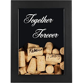 AF ANDREW FAMILY Guest Signing Frame with 40pcs Wine Corks, Engraved Wedding Guest Book, Black Wooden Picture Frame