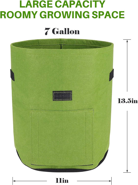 Grow Bags 7 Gallon,5pcs, Black 7//10 Gallon Garden Growing Planter Bags for Vegetable Potato Carrot Tomato Onion with Strap Handles Double Layer Breathable Nonwoven