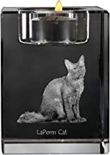 LaPerm Cat, Crystal Candlestick, Candle Holder with cat, Souvenir, Limited Edition