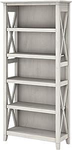 Bush Furniture Key West Tall 5 Shelf Bookcase, Linen White Oak