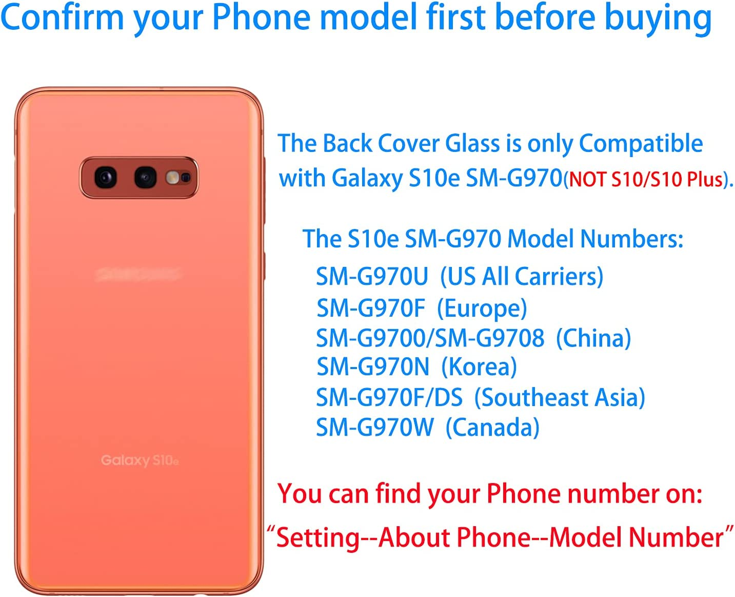 Vimour Back Cover Glass Replacement for Samsung Galaxy S10e G970U All Carriers with Pre-Installed Camera Lens, All The Adhesive and Professional Repair Tool Kits (Flamingo Pink)