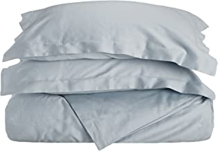 Superior 100% Premium Combed Cotton, 3 Piece Soft and Smooth Duvet Cover and Pillow Sham Set, Solid, King/California King - Light Blue