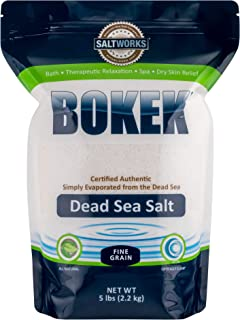 SaltWorks Bokek Dead Sea Bath Salt, Fine, 5 Pound Bag