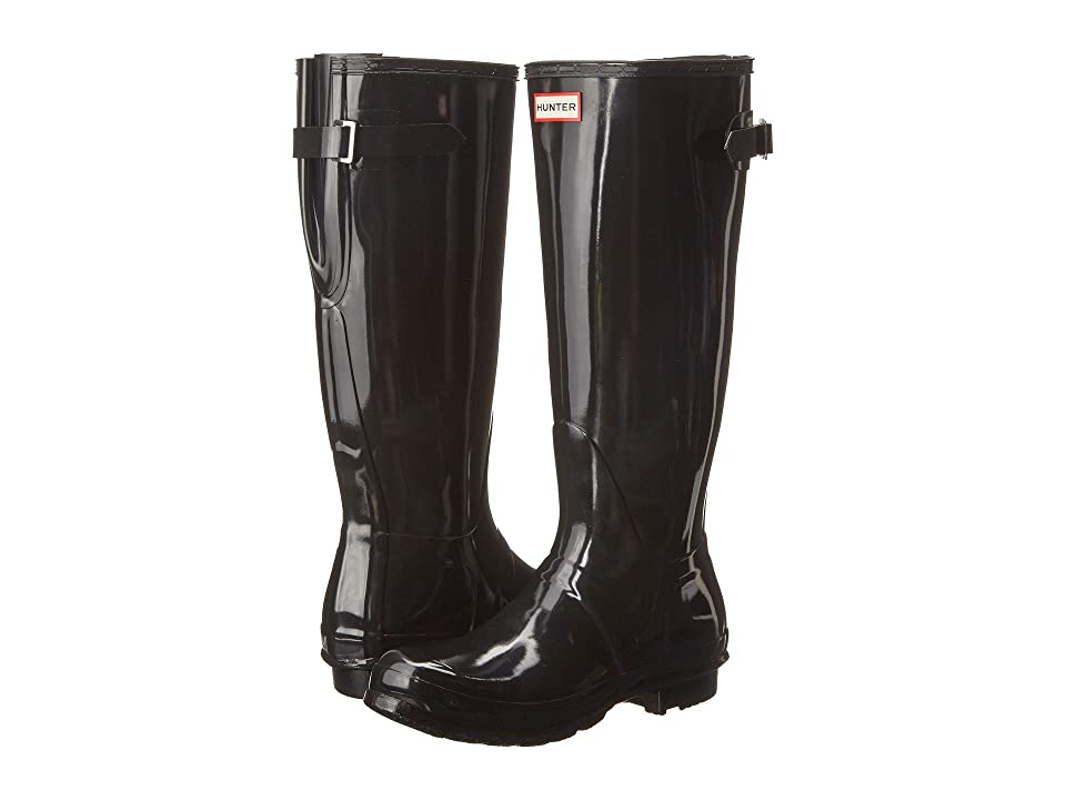 Hunter Original Back Adjustable Gloss Rain Boots (Black) Women's Rain Boots