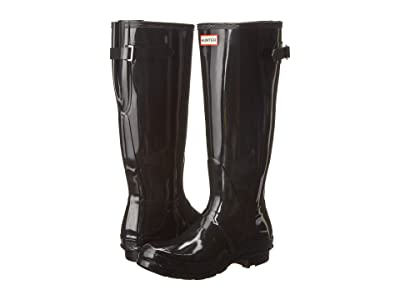 Hunter Original Back Adjustable Gloss Rain Boots (Black) Women