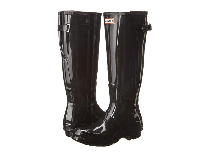 Hunter  Original Back Adjustable Gloss Rain Boots (Black) Womens Rain Boots