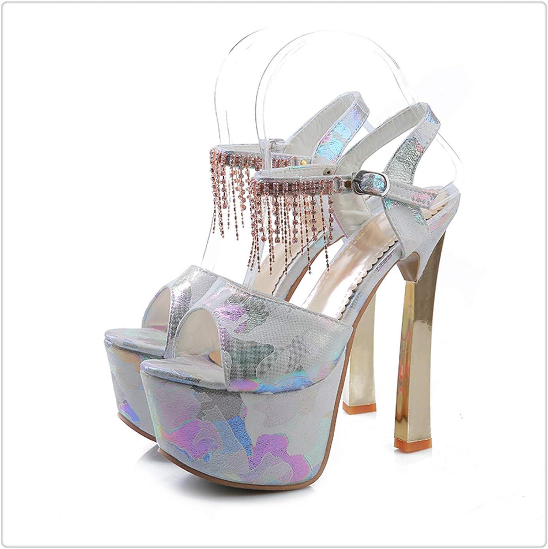 Yyixianma Brand Elegant High Heels Super bluee Pink Women's Platform Open Toe Sandals