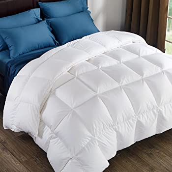 puredown 800 Fill Power Natural White Goose Down Comforter 700 Thread Count 100% Cotton Fabric Full/Queen Size White