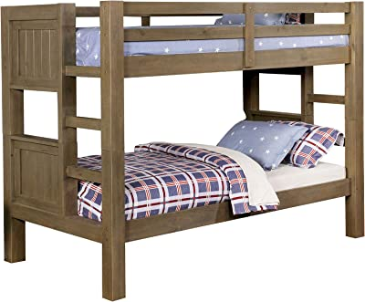 Benjara Rustic Style Wooden Bunk Bed with Built in Ladder and Block Legs, Gray