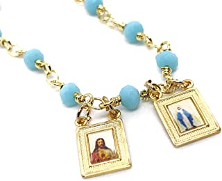 LESLIE BOULES Catholic Scapular Necklace for Women Blue Ligth Crystal Beads Chain 17 Inches Length