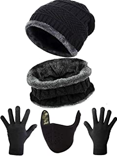 Abudder4 Pieces Ski Warm Set Includes Winter Hat Scarf Warmer Gloves Ski Face Mask Half Face Mouth Warmer Balaclava for Ski Bicycle Cycling Motorcycle Black, Medium
