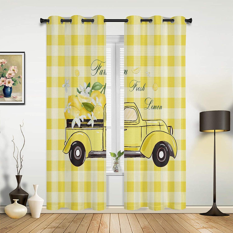 Window Sheer Curtains for Bedroom Living New Max 90% OFF arrival Farm Lemon Room Fresh P