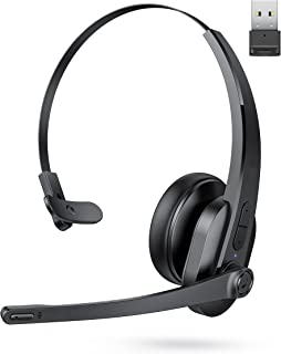 $29 » Sponsored Ad - Trucker Bluetooth Headset with Noise Cancelling Microphone, 34H Playtime, Wireless Headset with USB Adapter...