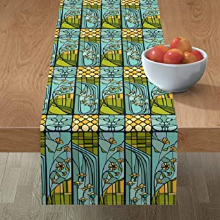 Roostery Tablerunner, Window Art Nouveau Style Blue Green Yellow Pane Glass Stained Flowers Print, Cotton Sateen Table Runner, 16in x 108in