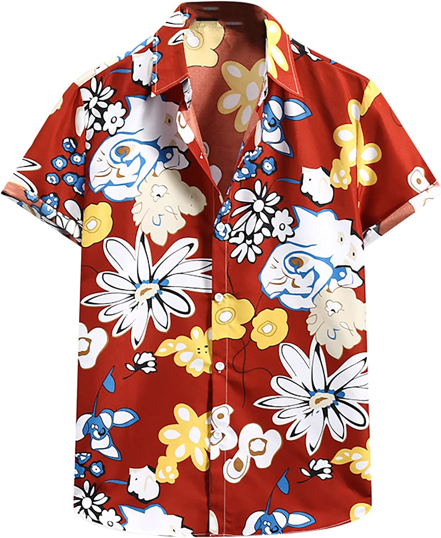 Men's Summer Floral Print Hawaiian Shirts for Men, Casual Short Sleeve Button Down Tropical Beach Shirts