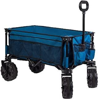 Timber Ridge Folding Camping Collapsible Sturdy Steel Frame Garden/Beach Wagon/Cart Heavy Duty, Blue-Side Bag