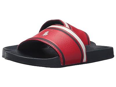 Polo Ralph Lauren Kids Quilton Slide (Little Kid/Big Kid) (Red Tumbled/Navy EVA/White Pony Player) Boys Shoes