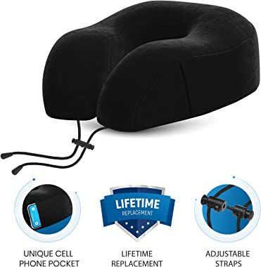 Everlasting Comfort Travel Neck Pillow - Memory Foam Travel Pillow - Airplane Pillow Accessories - Traveling Neck Rest for Pl
