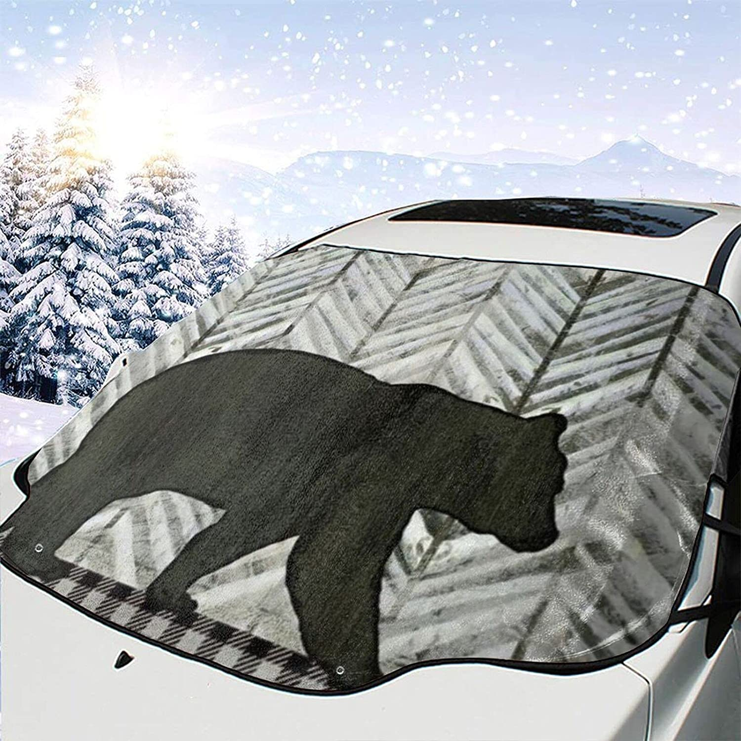 Car Front Window Shade Retro Rustic Black Import Forest Wint Plaid Bear Ranking TOP10