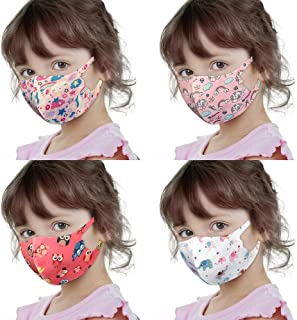 Imperial Reusable Washable Face Bandanas Protective Covering For Children 4 Pieces Set (Girl Set 1)
