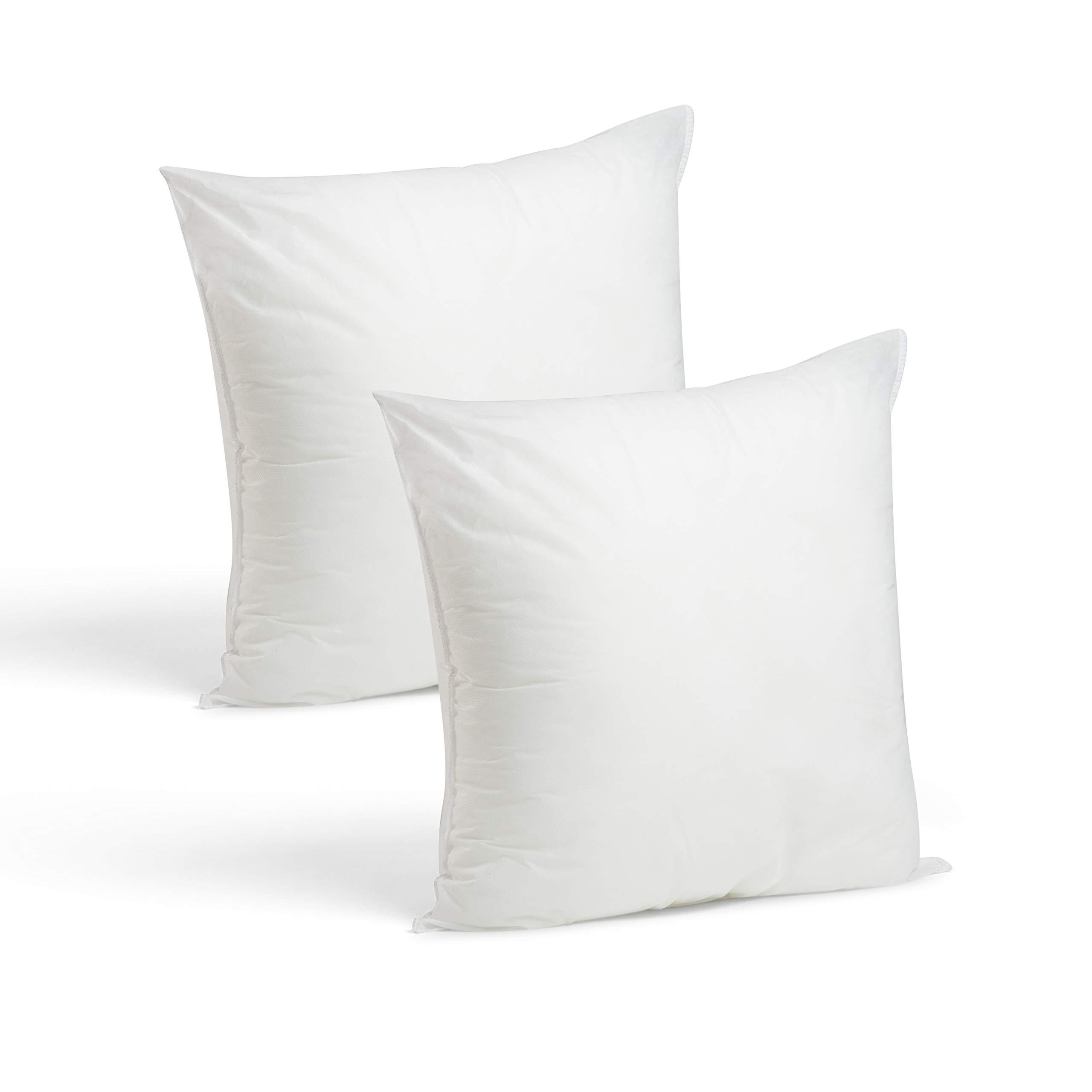 Set Of 2 18 X 18 Premium Hypoallergenic Stuffer Pillow Insert Sham Square Form Polyester Standard White Made In Usa Home Kitchen