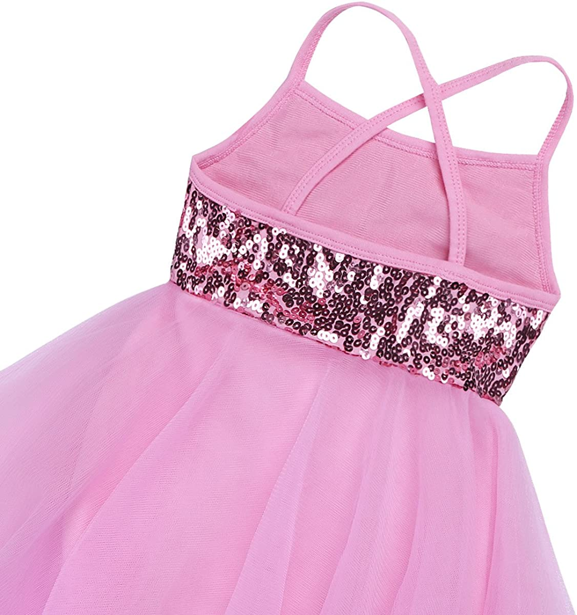 Yartina Kids Girls Shiny Sequin Camisole Ballet Dance Tutu Dress Lyrical Dancing Irregular Skirts Gymnastics Leotard Costume