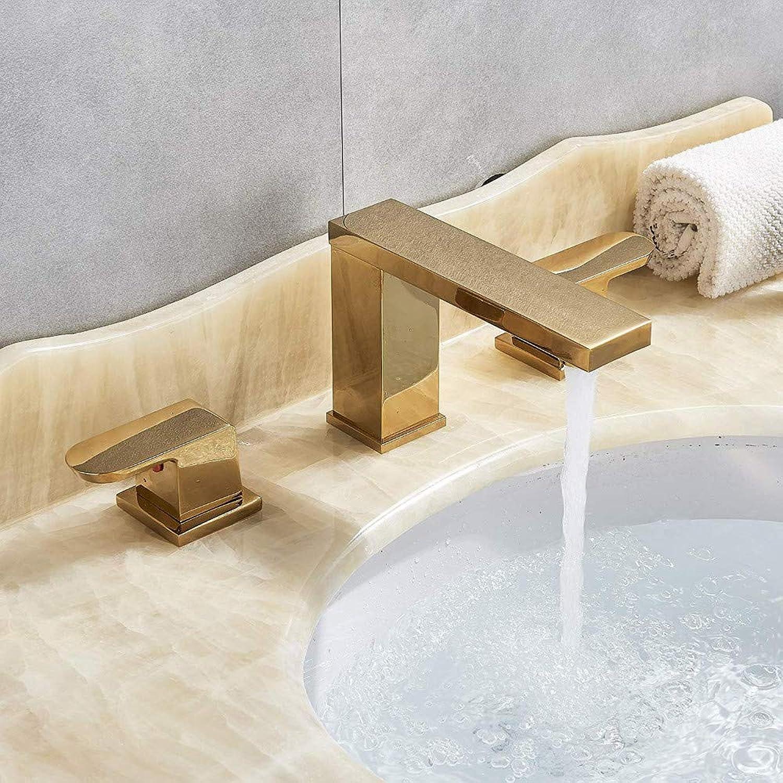 360 ° drehbarer Wasserhahn Retro Faucetrozin Gold poliert verbreitet 3 Lcher Waschbecken Wasserhahn 2 Knpfe Vanity Becken Mischbatterie