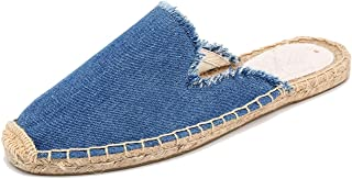U-lite Women's Simple Mule Breathable Flat Espadrilles Shoes, Pure Color Mules Blue Size: 7