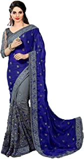 PYXBE Women's Embroidery Satin and Net Saree with Blouse Piece (Dark Blue)